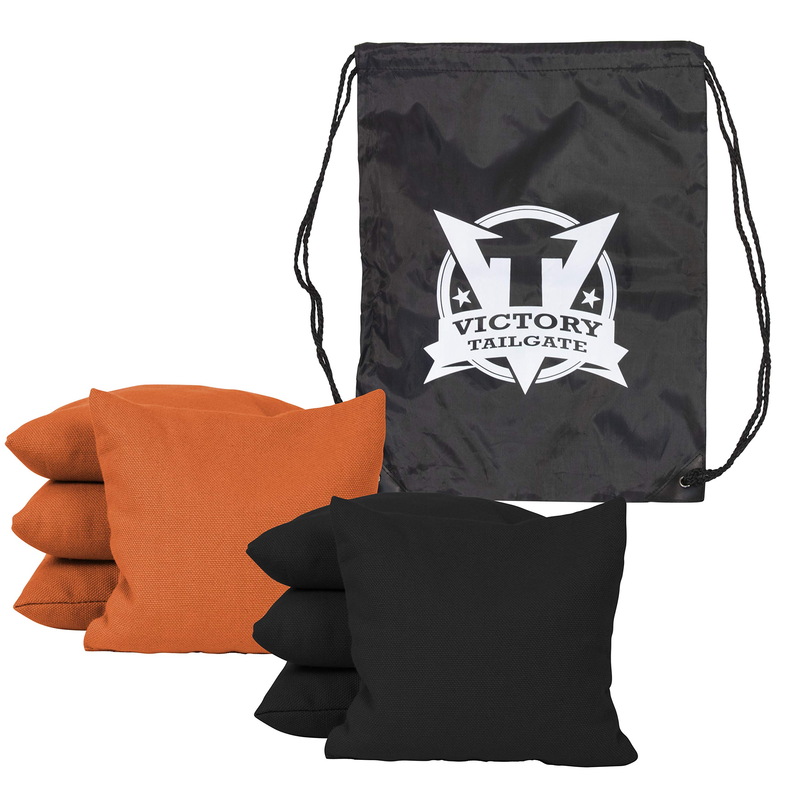 Victory Tailgate 8 Colored Corn Filled Regulation Cornhole Bags with Drawstring Pack (4 Black, 4 Orange)