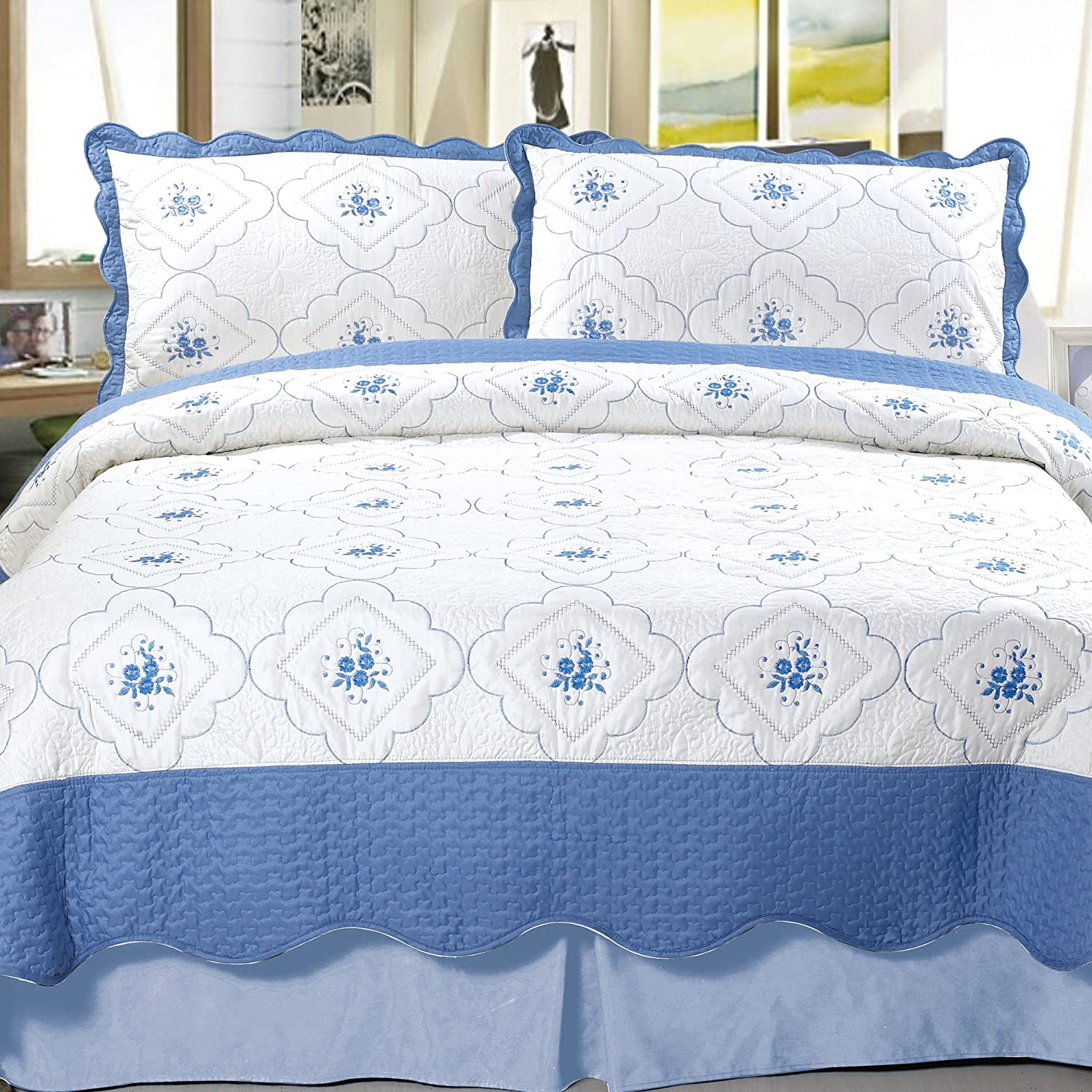 Lavish Home Brianna Embroidered 3-Piece Quilt Set, King