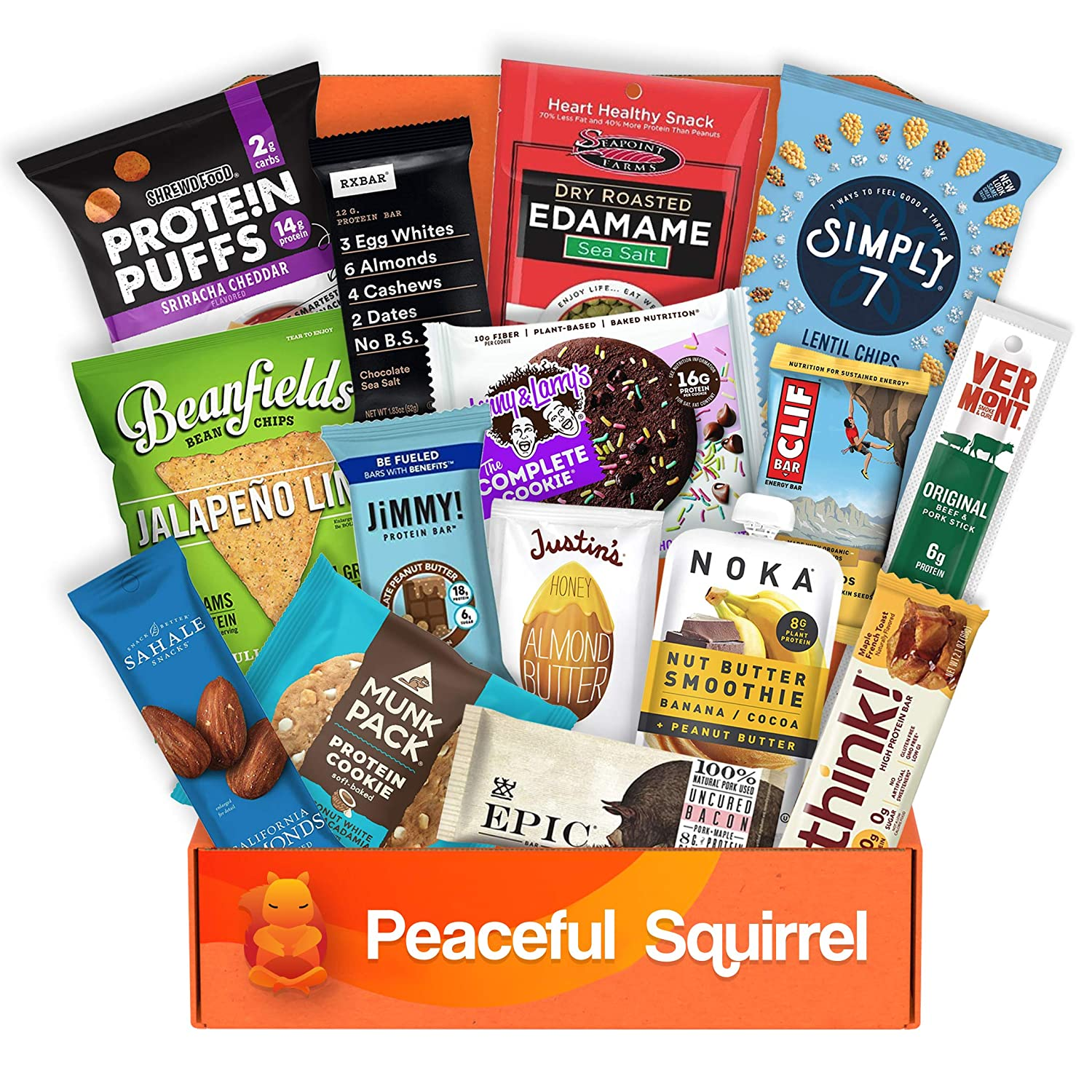 Peaceful Squirrel Variety, HIGH PROTEIN Curated Snack Box, Hand Selection of Your Favorite Premium Healthy High Protein Fitness Snacks, Custom Variety, 15 -Piece Premium Snack Box