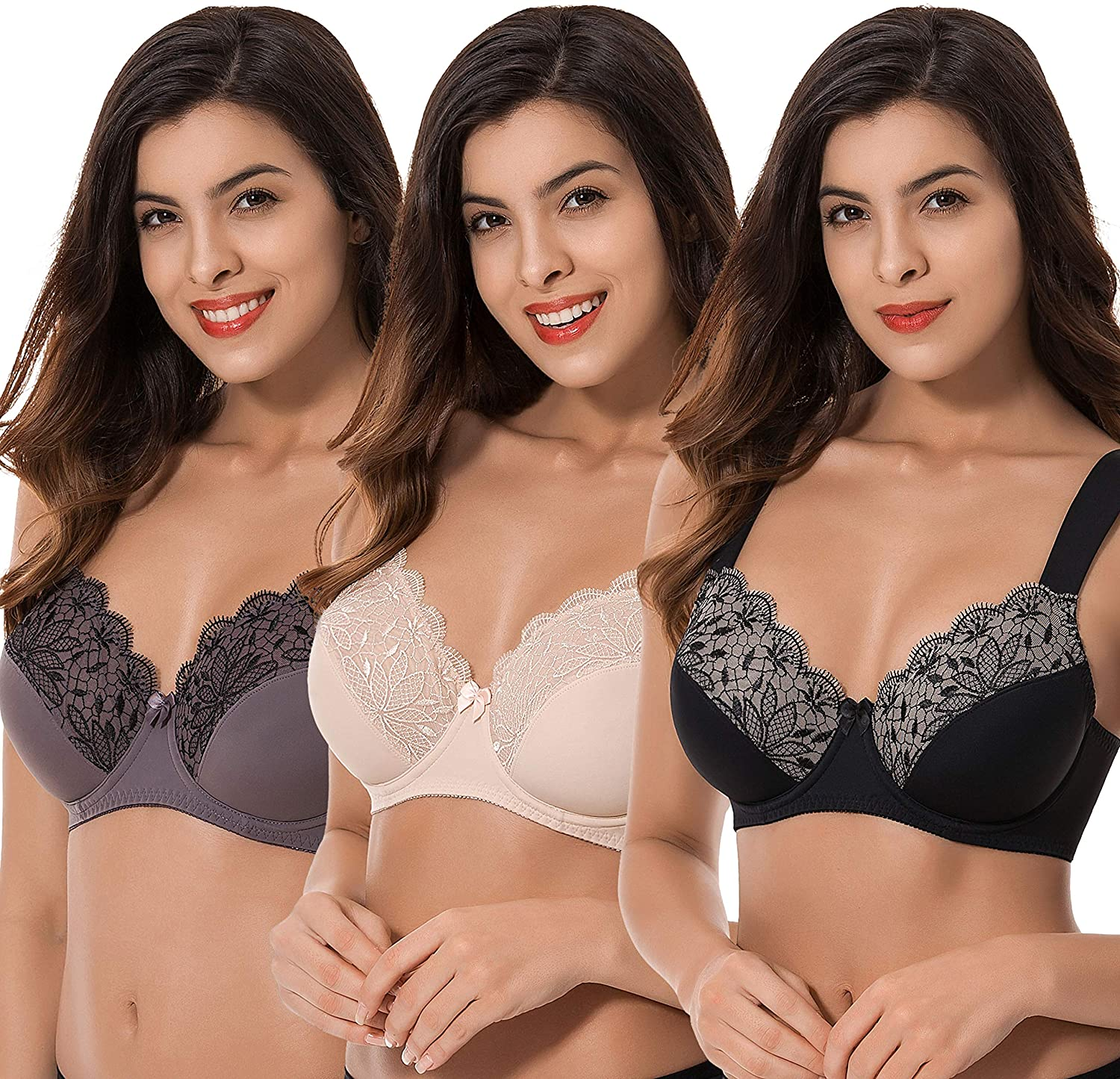 Curve Muse Plus Size Unlined Minimizer Underwire Bra with Embroidery Lace-3 Pack at  Women's Clothing store
