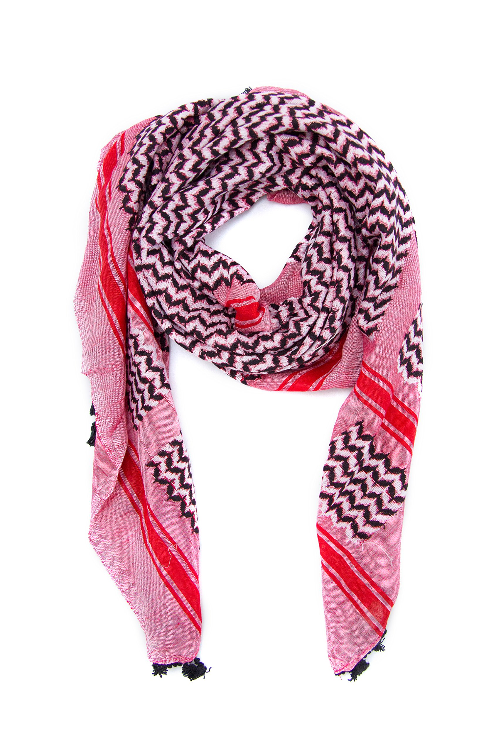 Hirbawi Premium Arabic Scarf 100% Cotton Shemagh Keffiyeh 47''x47'' Arab Scarf (Pink Zahra) Made in Palestine by Hirbawi (Image #4)