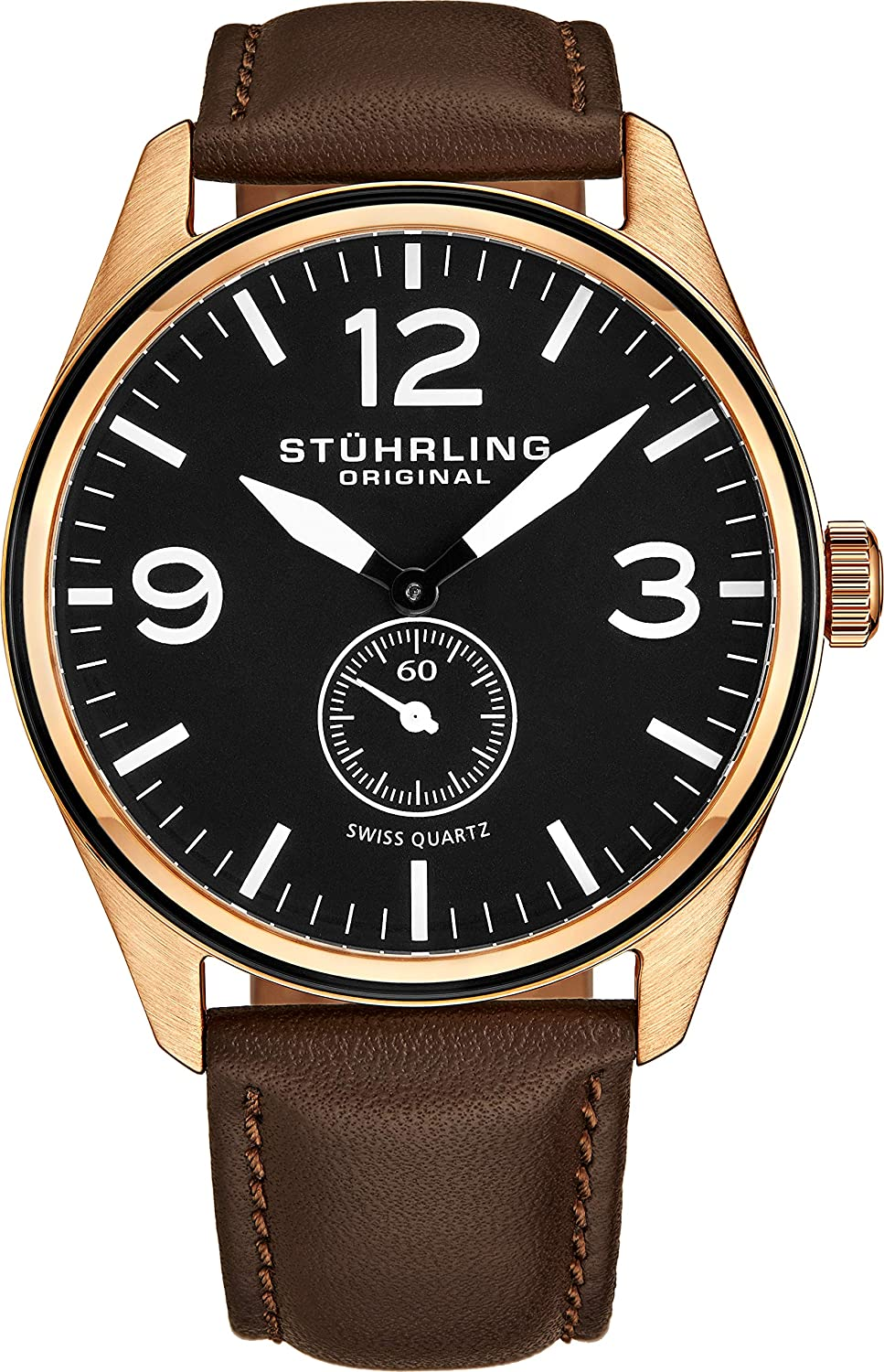 Stuhrling Original Men s 931.03 Aviator Rose Gold-Tone Stainless Steel Watch with Brown Leather Band