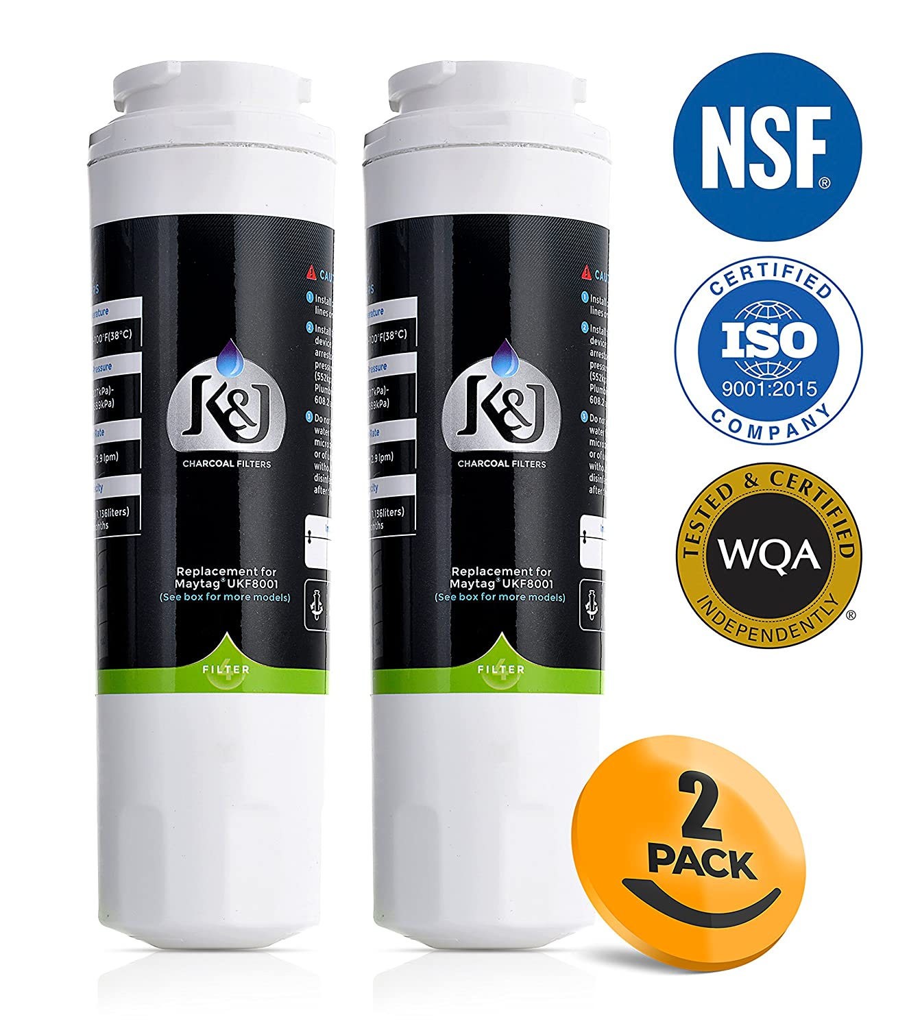 K&J Refrigerator Water Filter Maytag Compatible for UKF8001 Pur - Replacement for Maytag UKF8001, UKF8001AXX, EDR4RXD1, Puriclean II, and Kenmore 9006 (2 Pack)