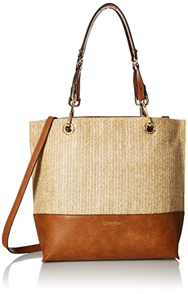a78803314 Amazon.com: Calvin Klein Sonoma Reversible Novelty North/South Tote, straw:  Clothing
