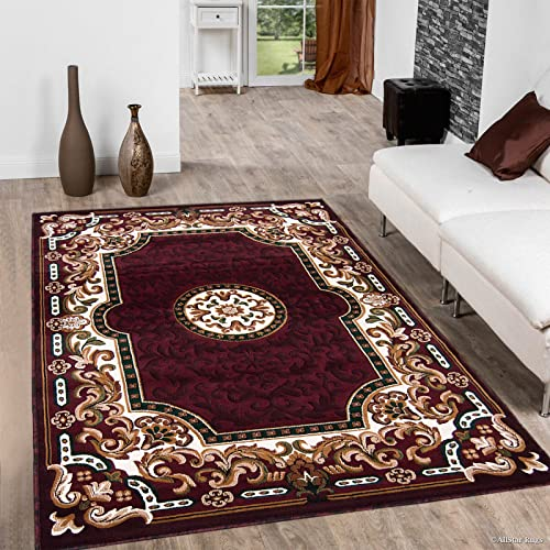 Allstar 8×10 Burgundy and Mocha Classic French Country Machine Carved Effect Rectangular Accent Rug