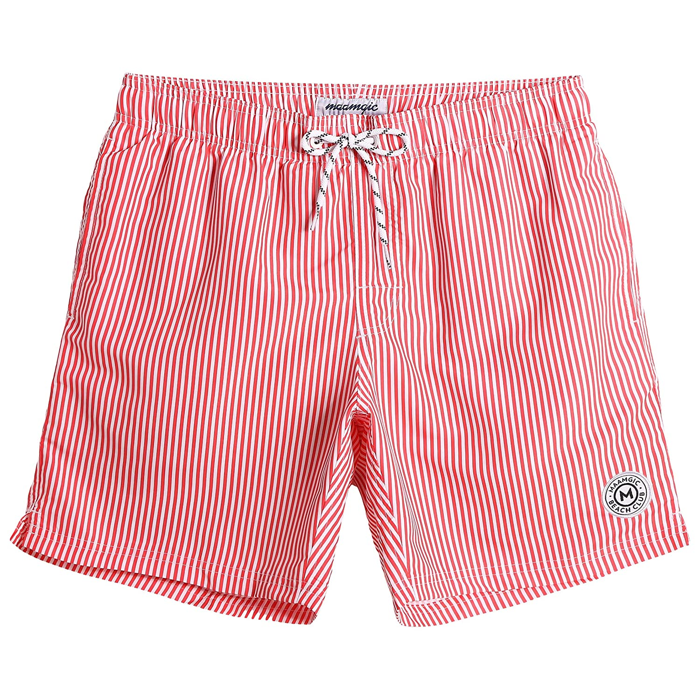MaaMgic Mens Slim Fit Quick Dry Deck Stripe Mid Length Swim Trunks Shorts Mesh Lining 281118546