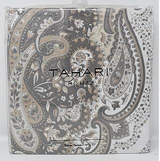 beige and white shower curtain. Tahari Fabric Shower Curtain Beige and Gray Paisley Medallions Salma Amazon com  Brown