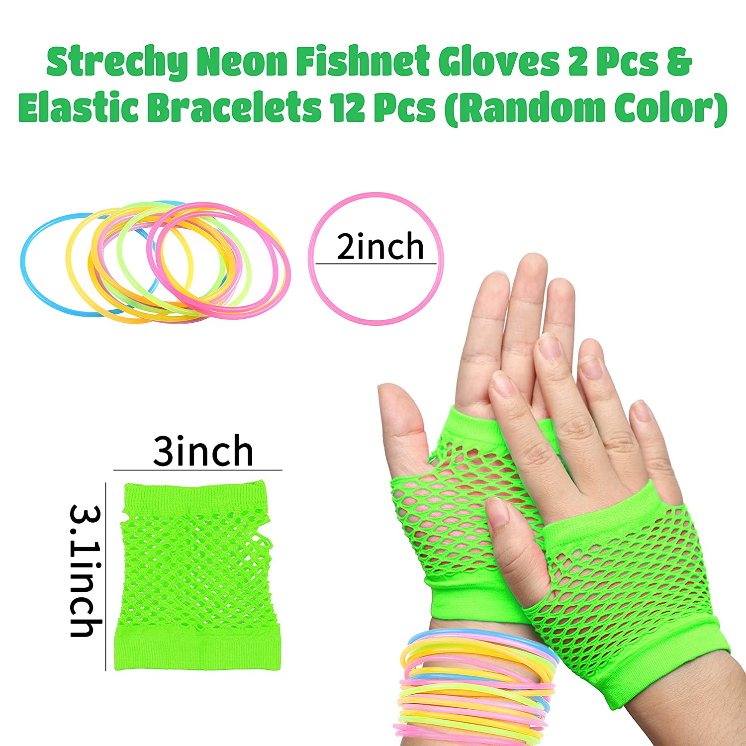 WATINC 22pcs 80s Retro Neon Costume Outfit Accessories for Women 80s Hair Scrunchies for Hair Green Shutter Glasses Fingerless Fishnet Gloves Flash Earrings Jelly Bracelets Necklace Party Supplies