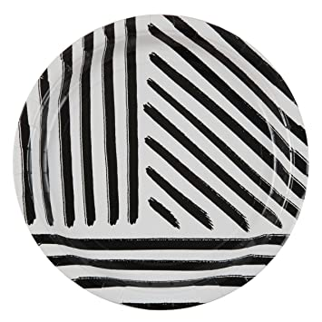 Plum and Punch 9u0026quot; Dinner Paper Plate Set of 8 with Black and White Stripes  sc 1 st  Amazon.com : black and white striped paper plates - Pezcame.Com
