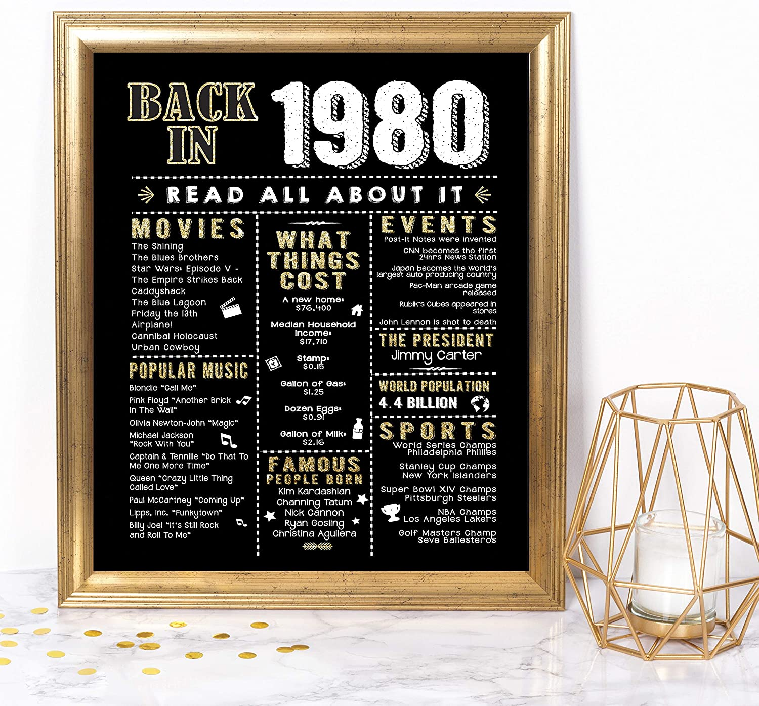 Katie Doodle 80s Party Decorations Supplies Decor Centerpiece for 80's Theme - Includes 8x10 Back in 1980 Sign [Unframed], Black Gold