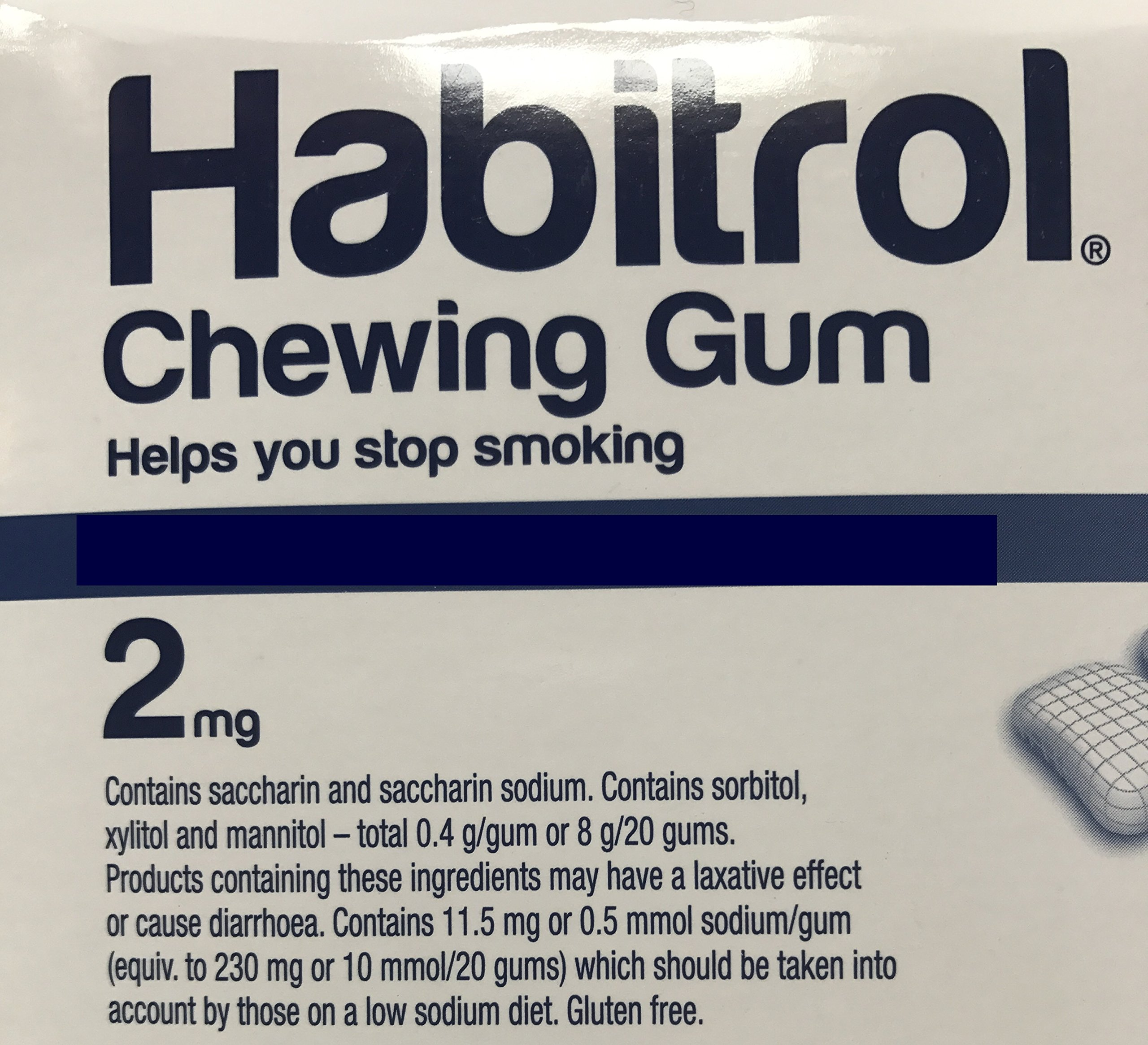 Habitrol Nicotine Gum 2mg Mint Flavor. 4 bulk packs of 384 (total 1536 pieces)