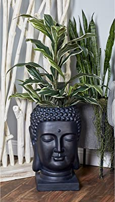 black-ceramic-large-buddha-head-planter