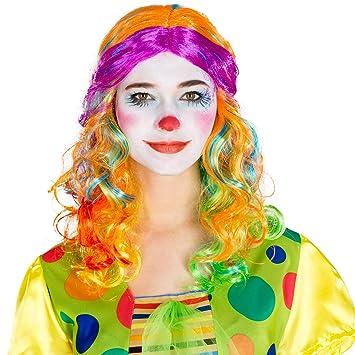 dressforfun Peluca Payaso larga para Mujer | Multicolor