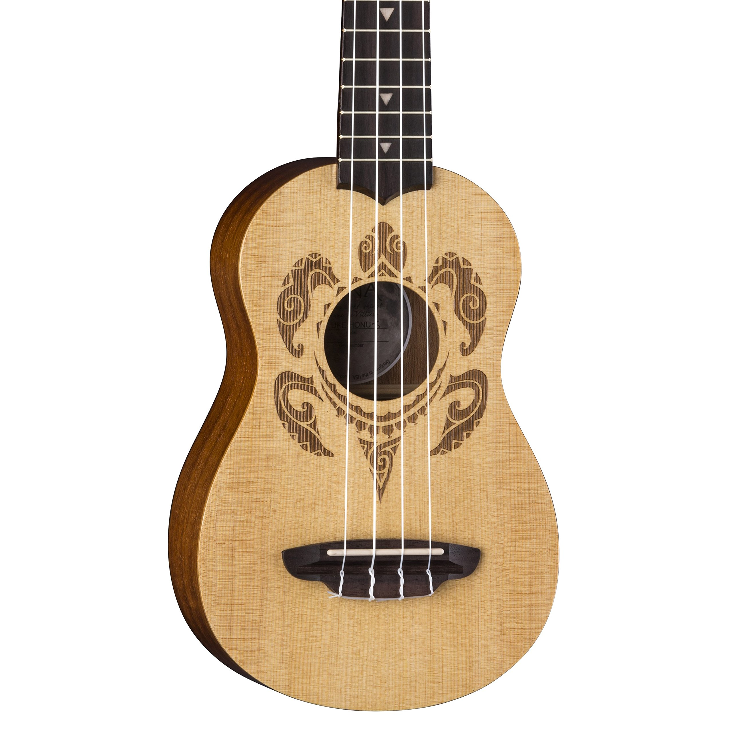 Luna Honu Turtle Spruce Soprano Ukulele with Gig Bag, Satin Natural by Luna Guitars