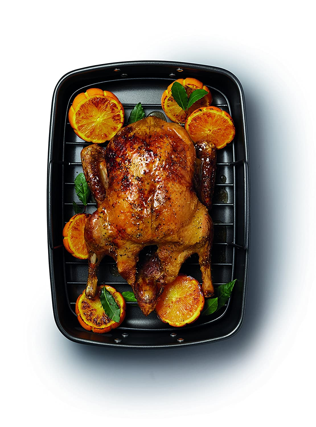 Commercial Grade Large Roasting Tin Tray with Non-Stick Steel Rack 40 x 28 cm