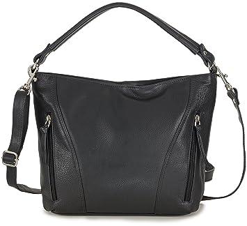 a40796d147992 Taschenloft Damen Tasche Leder schwarz - Ledertasche mit Reißverschluss und  Schulterriemen mittelgroß - Schwarze Shopper Handtasche