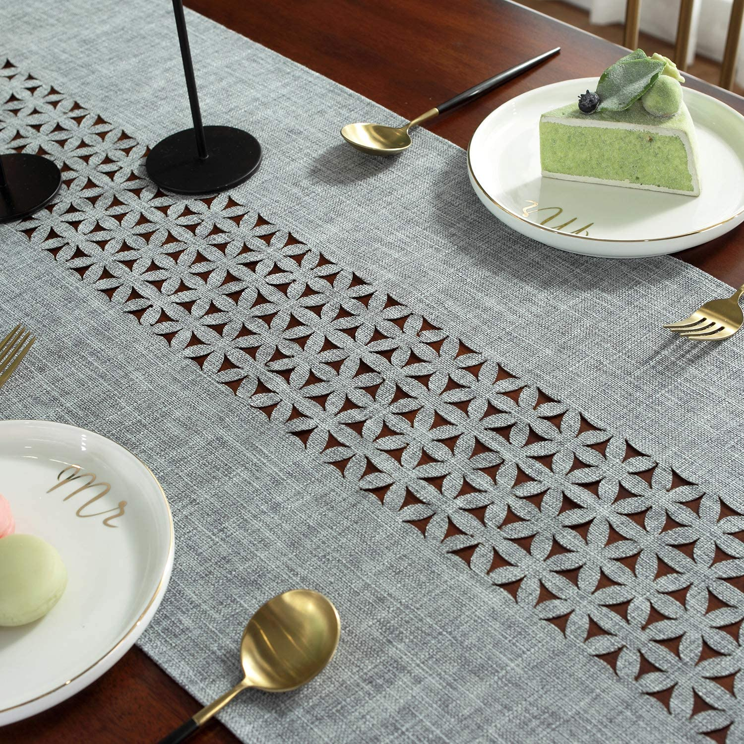 """SUTAVIA Classic Rectangular Table Runner, Non - Slip HeatOne Easy to Clean Modern Farmhouse Kitchen Table Runners,Dining Table or dresser protocol (Grey, 16""""×84""""): Home & Kitchen"""