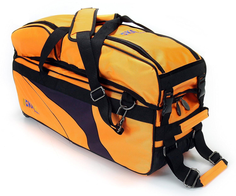 Kazeスポーツ3ボールデラックスBowling TournamentローラーTote with Detachable Shoe &アクセサリーバッグ B019EKL07I オレンジ オレンジ