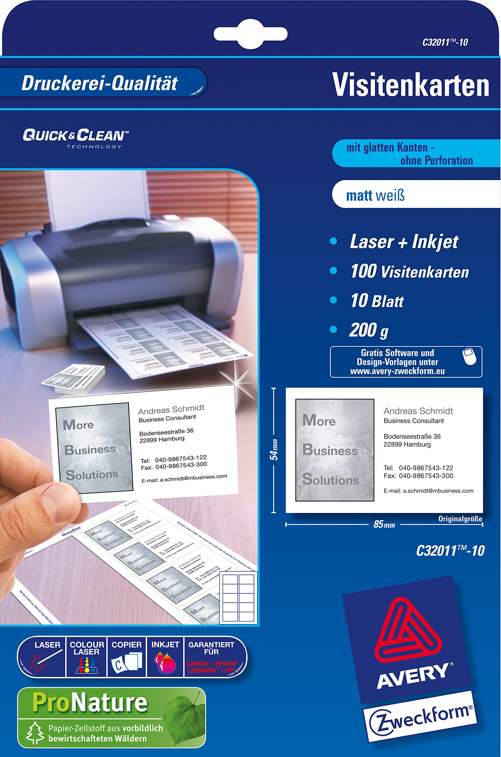Avery Zweckform Business Cards Quick&Clean Inkjet Laser Copier 200 g/m² DIN A4 85 x 54 mm Matt White 5000 Cards 500 Sheets