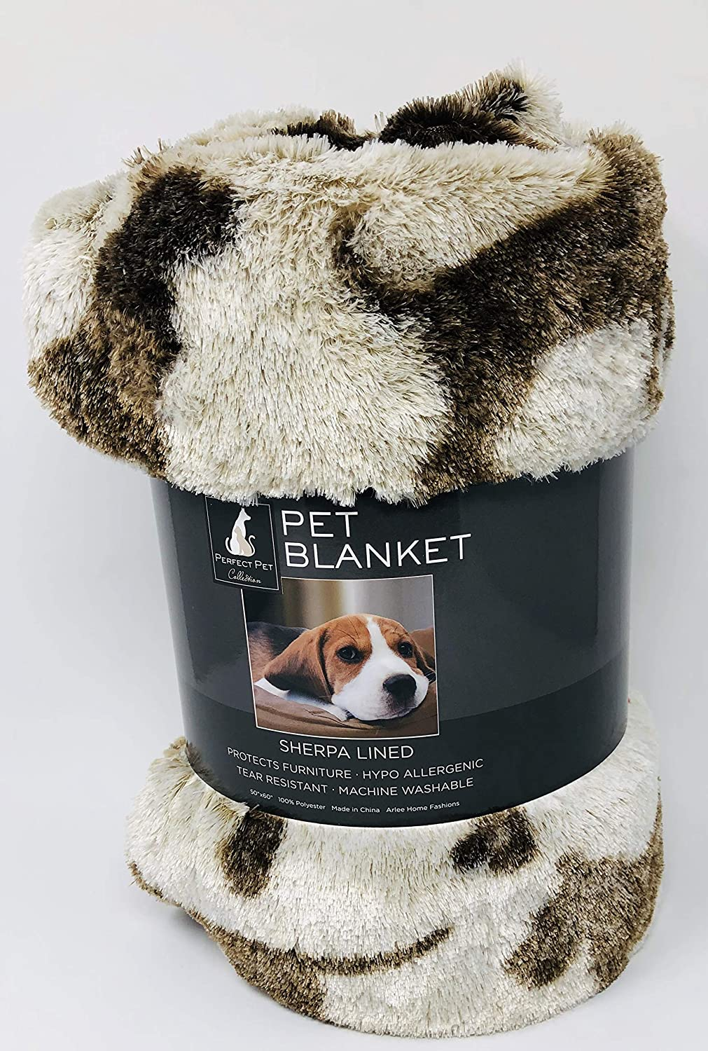 Arlee Home Fashions Doggie Drawings Tan and Brown Sherpa Lined Dog Plush Throw Blanket Oversized 50 x 60