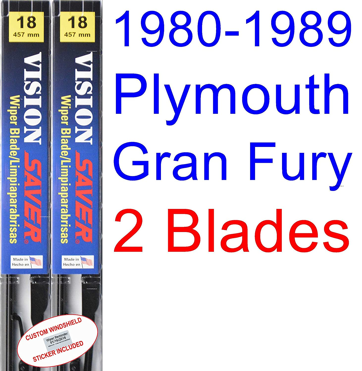 Amazon.com: 1980-1989 Plymouth Gran Fury Wiper Blade (Driver) (Saver Automotive Products-Vision Saver) (1981,1982,1983,1984,1985,1986,1987,1988): Automotive