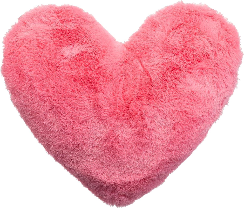 cojín con pelo forma corazón rosa