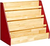 AmazonBasics Single-Sided Wooden Book Display, Red