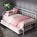 Zinus Florence Twin Daybed and Trundle Frame Set / Premium Steel Slat Support / Daybed and Roll Out Trundle Accommodate…
