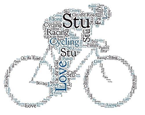 Personalised Word Art Print Cycling Bike Cyclist Cycle Birthday Gift Frame Card Amazon Co Uk Handmade