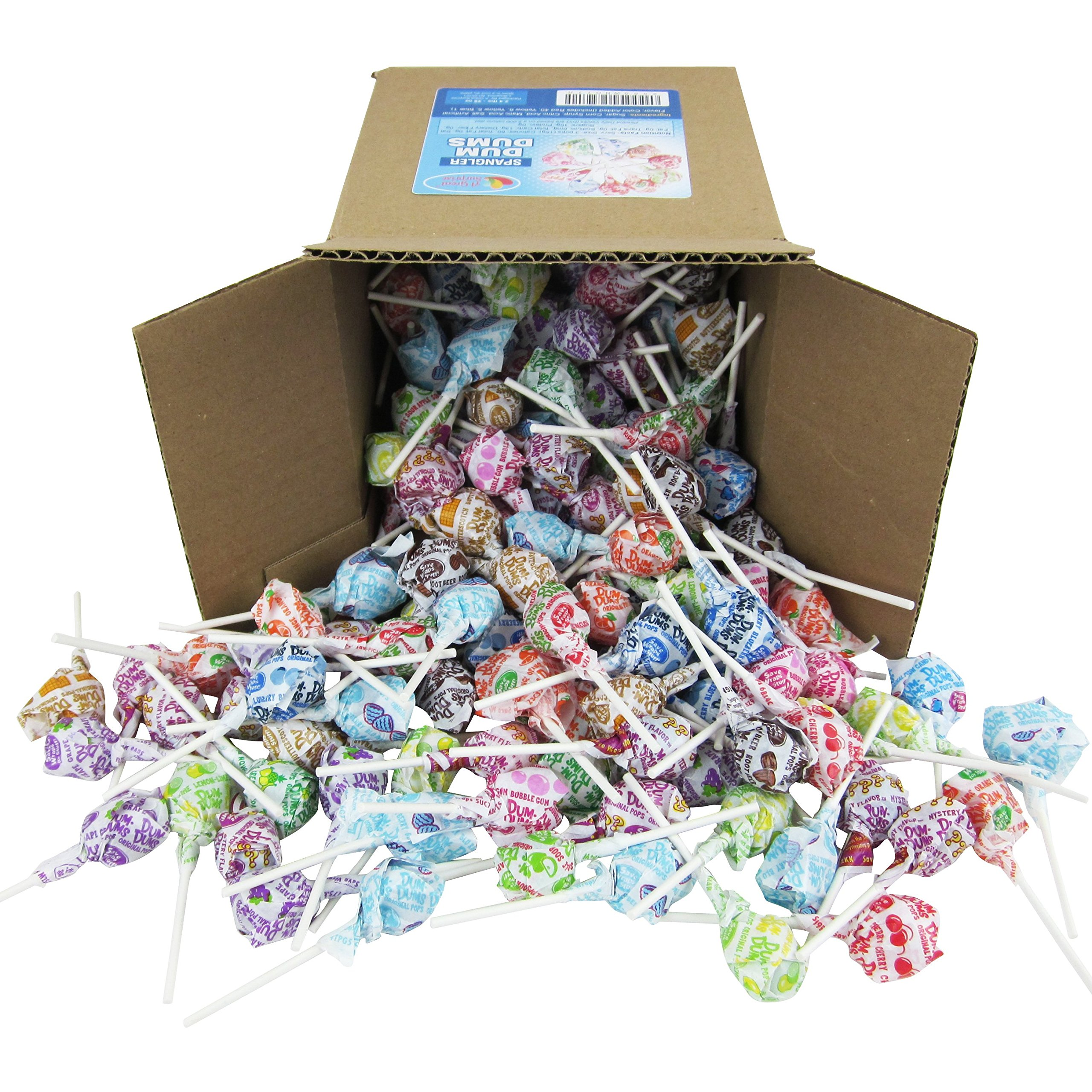 Dum Dums Pops by Spangler, Assorted Flavors Lollipops in 6x6x6 Box Bulk Candy, 2.4 lbs. - 38 oz. by Dum Dums (Image #1)