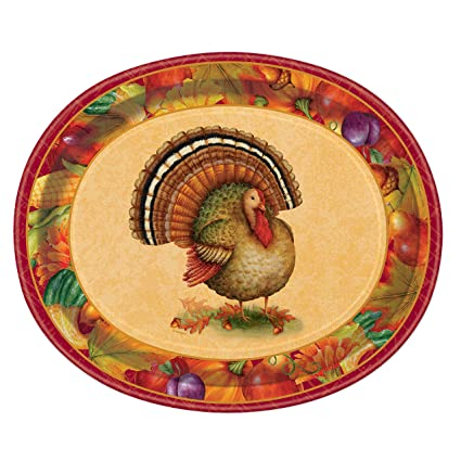 Festive Turkey Thanksgiving Oval Paper Plates 8ct  sc 1 st  Amazon.com & Amazon.com: Festive Turkey Thanksgiving Oval Paper Plates 8ct ...