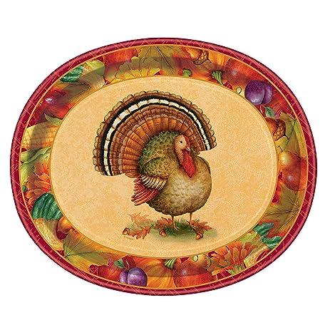 Festive Turkey Thanksgiving Oval Paper Plates 8ct  sc 1 st  Amazon.com & Amazon.com: Festive Turkey Thanksgiving Oval Paper Plates 8ct ...