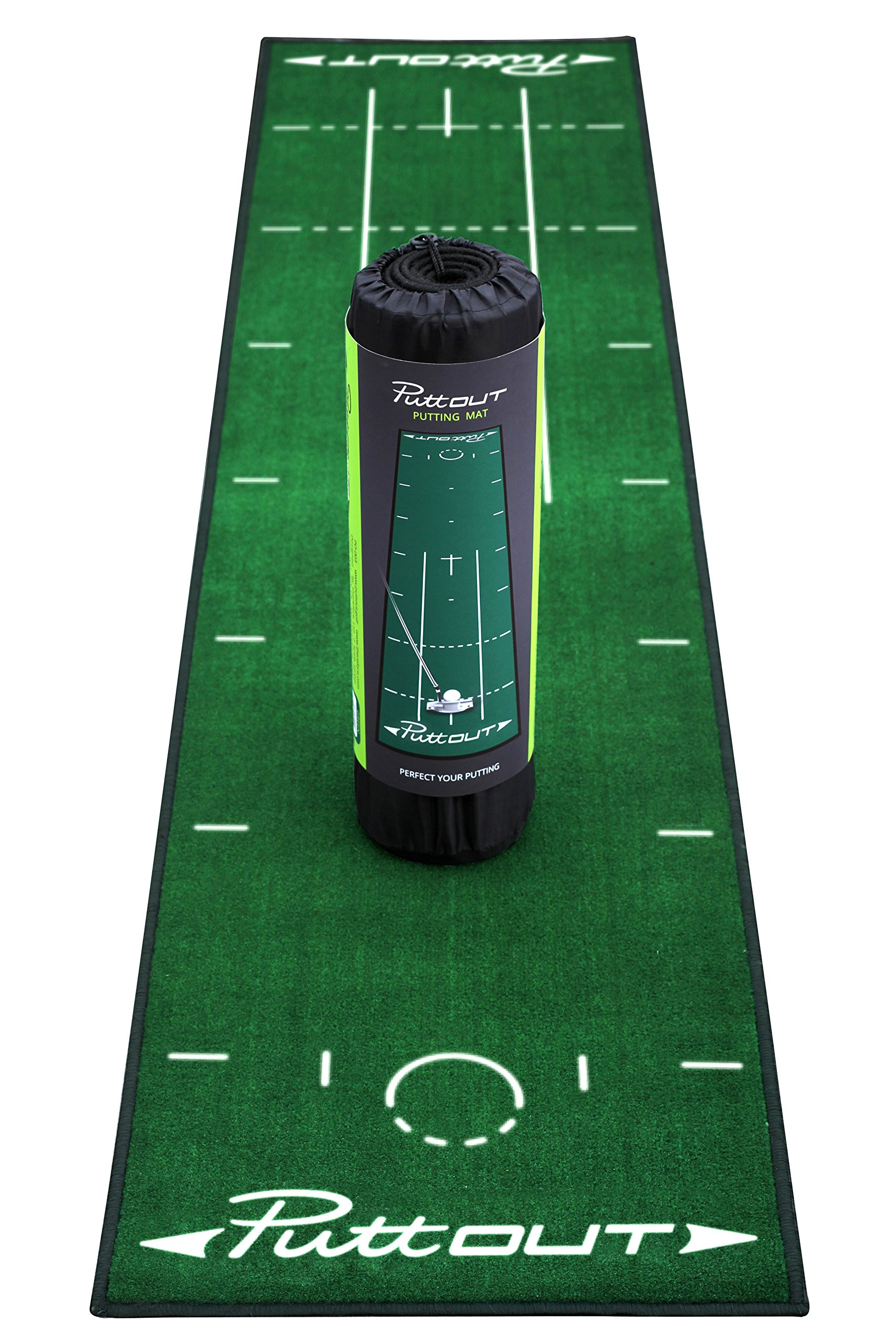 PuttOut Pro Golf Putting Mat - Perfect Your Putting (7.87-feet x 1.64-feet) (Green) by PuttOut