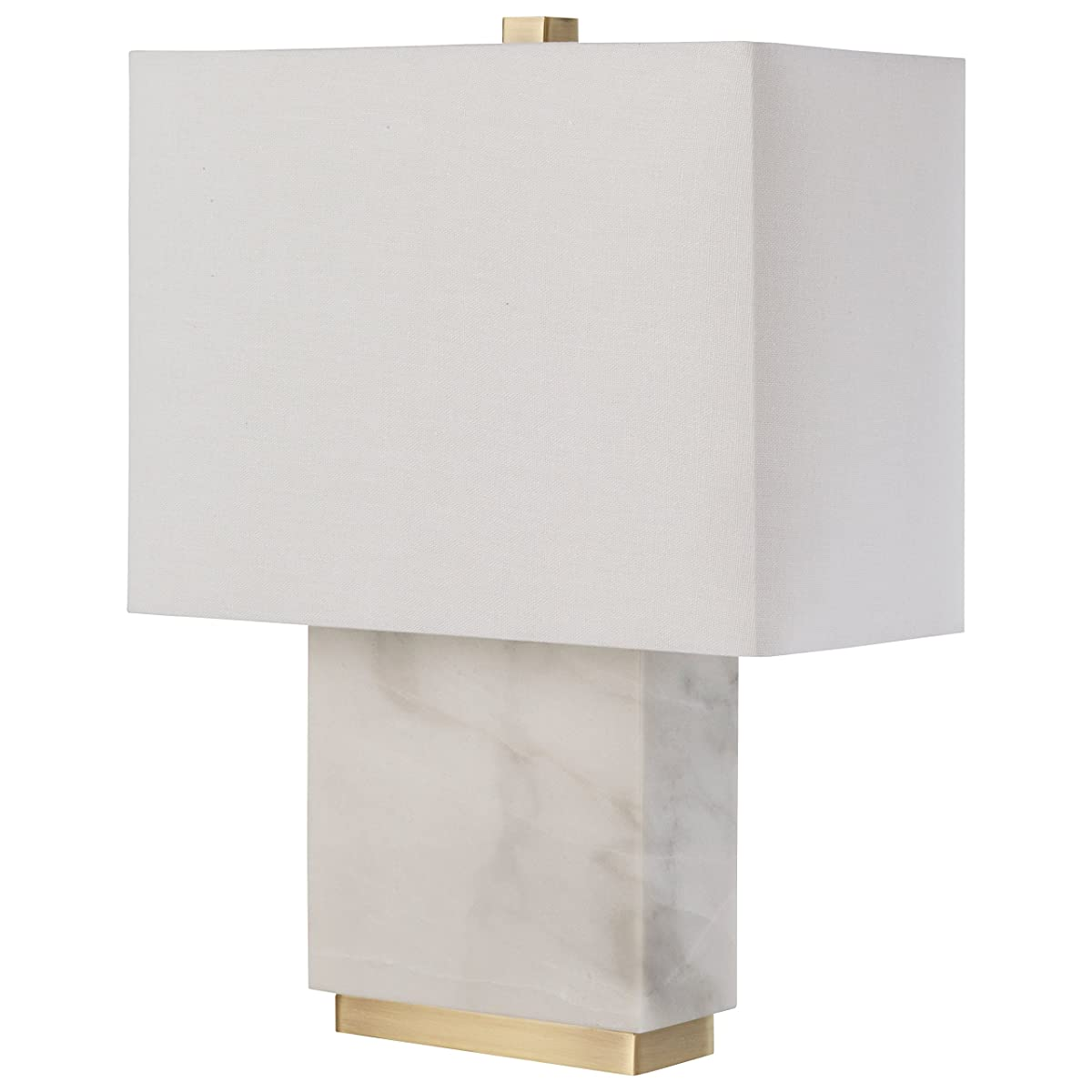 "Rivet Mid-Century Marble and Brass Table Lamp, With Bulb, 17"" x 6.5"" x 13.5"""