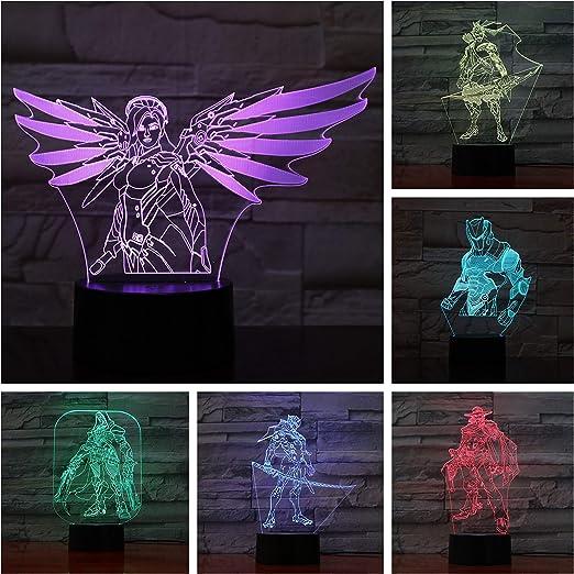 Juego Overwatch Lámpara 3D Mesa de Dormitorio de Acción Figura Decorativa Lámpara 7 Cambio de Color ping LED Luz de Noche Decoración para el hogar A-1760: Amazon.es: Iluminación
