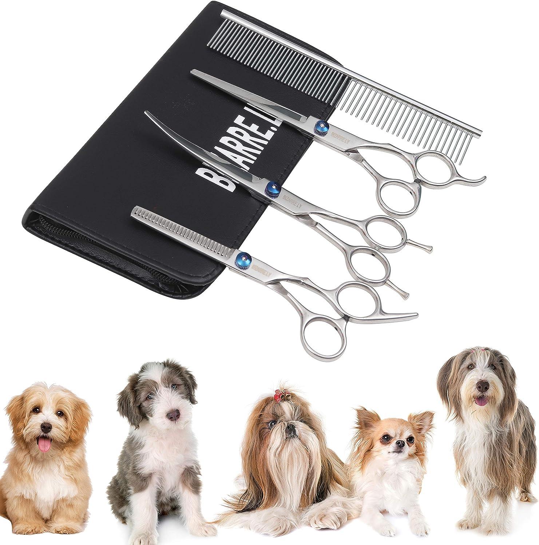 BIZARRE.LY Kit de Peluquería Canina Calidad Premium Para Perros y Gatos - Corte PROFESIONAL Acero Inoxidable Tijeras Curvas y de Descargue. También INCLUYE Peine de Alta Calidad