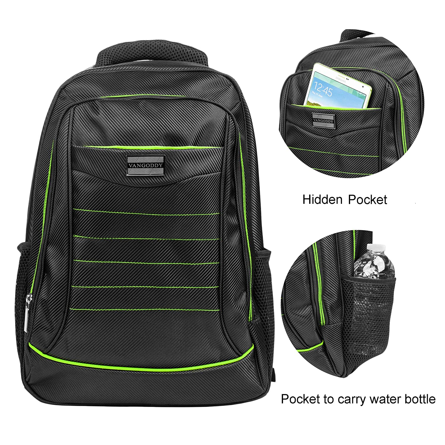 Amazon.com: Black Green 15.6 inch Laptop Backpack Office ...