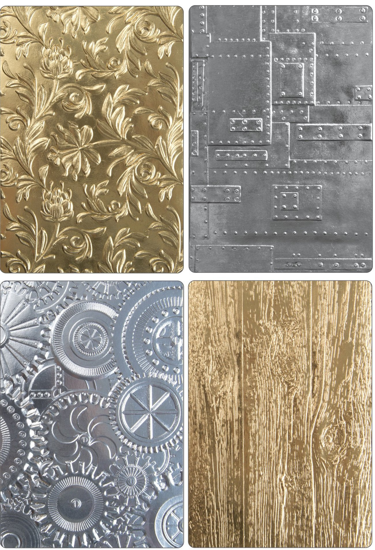 Tim Holtz Sizzix 3D Texture Fades Embossing Folders - Botanical, Lumber, Mechanics and Foundry - 4 item bundle