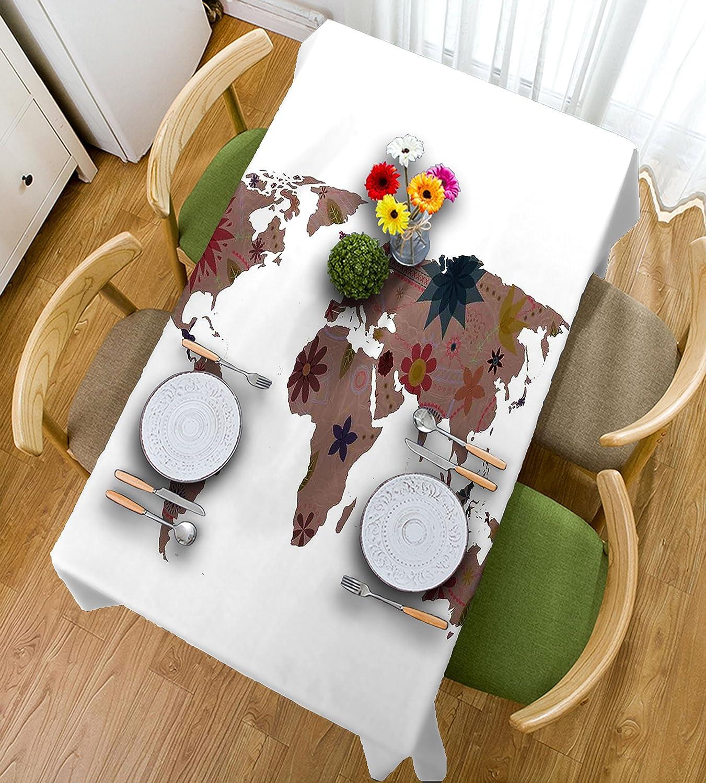 HAIXIA Manteles decorativos con diseño de mapa del mundo floral, diseño vintage con flores y globo bohemio, 55inch102inch