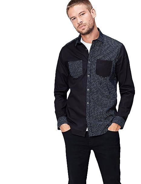 Marca Amazon - find. Camisa Estampada con Paneles en Contraste para Hombre: Amazon.es: Ropa y accesorios