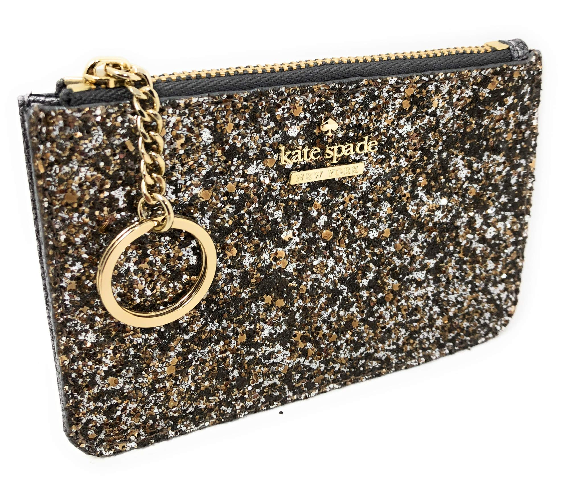 Kate Spade New York Laurel Way Bitsy Card Case Wallet Key Ring Glitter Gunmetal