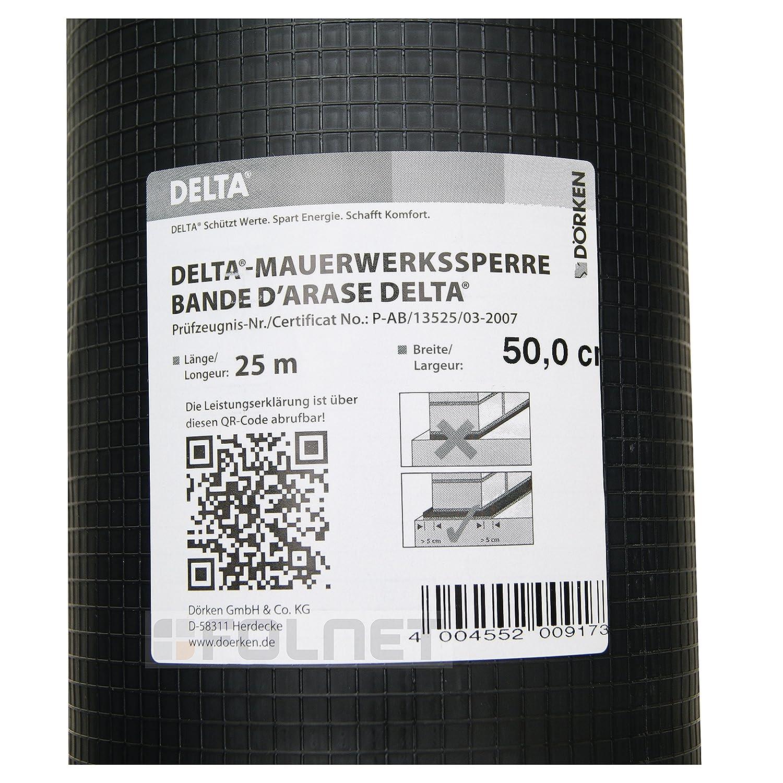 Schwarz 50 cm x 25 m D/örken Delta-Mauerwerkssperre