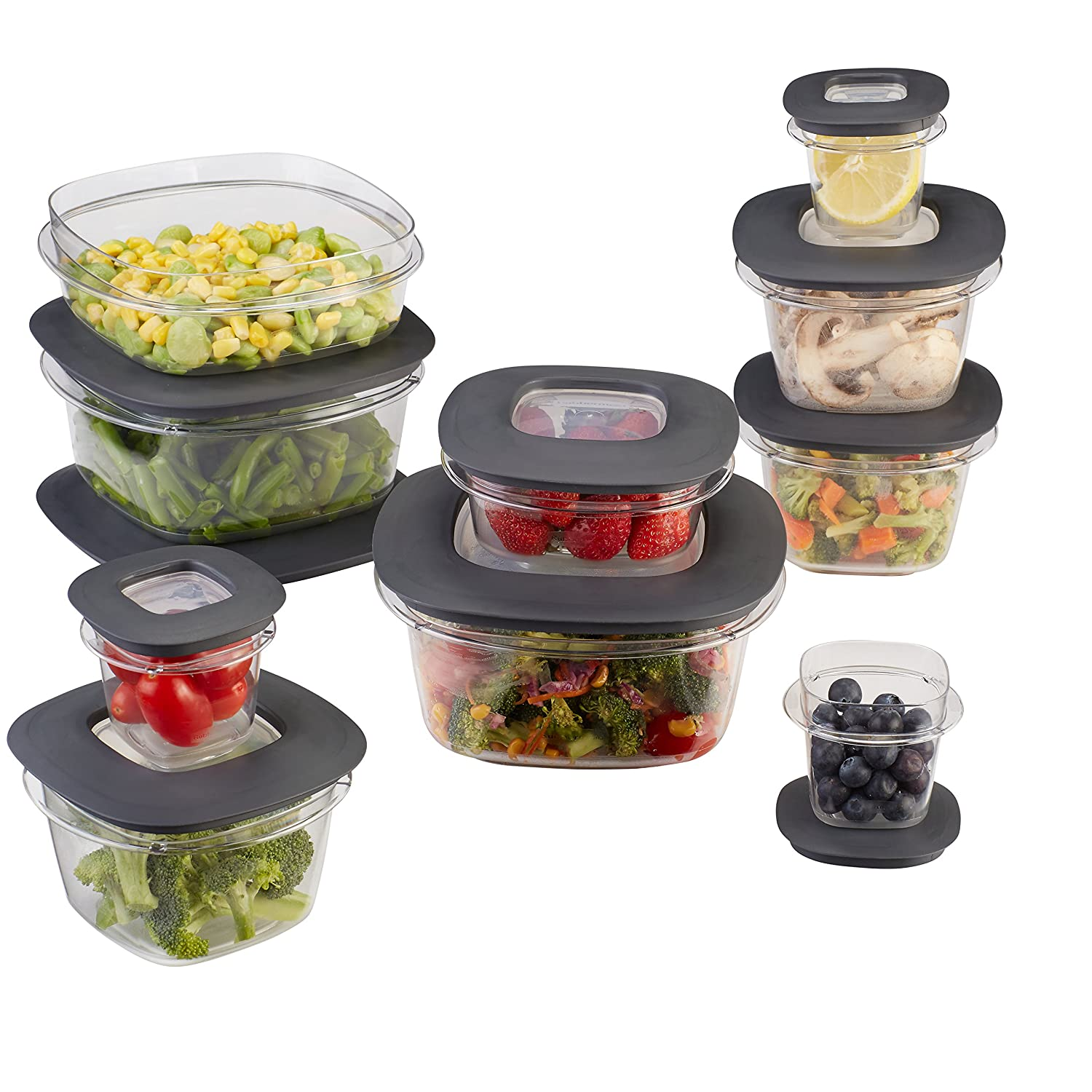 Rubbermaid Premier Easy Find Lids Food Storage Containers, Gray, Set of 20, 1937643