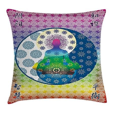 WYICPLO Mandala Throw Pillow Cushion Cover, Meditation Yoga ...