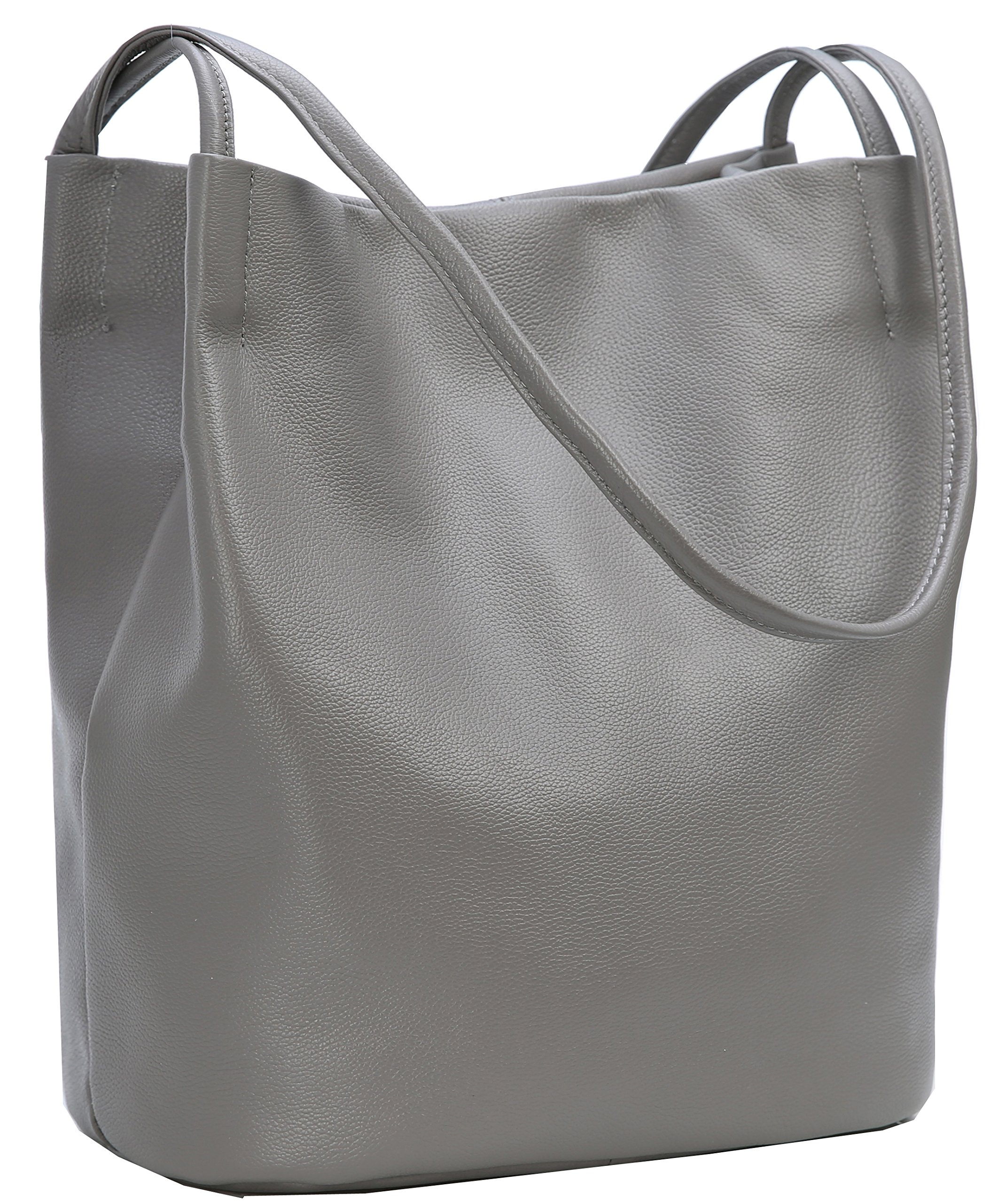 Iswee Leather Shoulder Bag Bucket Bag Hobo Lady Handbag and Purse Fashion Tote for Women (Grey)