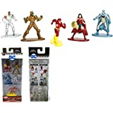 DC Comics Nano Metalfigs Die-Cast Mini-Figures - 5 PACK FIGURE COLLECTORS SET ( Wonder Woman, Cyborg, The Flash, Parademon, Batman)