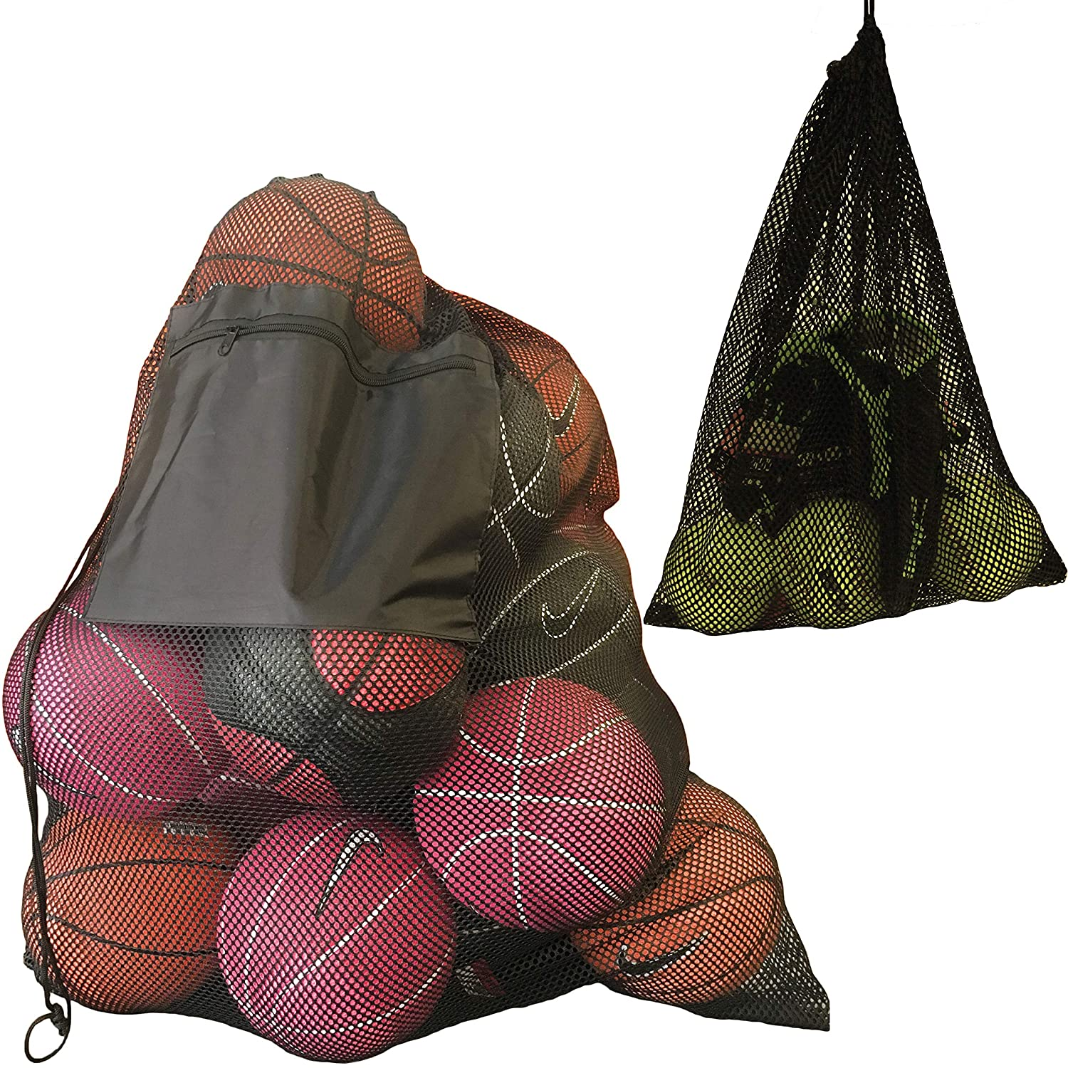 "2 Pack Mesh Ball Bag, Mesh Sports Equipment Bags - Heavy Duty and Extra Thick Drawstring 29"" x 38"" Sport Mesh Ball Bag With Shoulder Strap and Front Pocket and Sport Mesh Equipment Bag 14"" x 18 Youngever LLC"