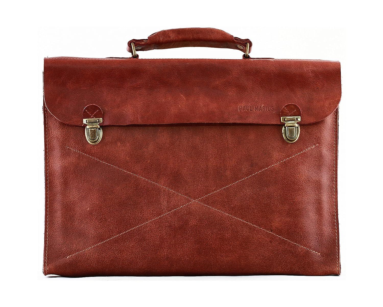 PAUL MARIUS Aktentasche aus weichem Leder Dokumententasche farbe braun LE LUNDI