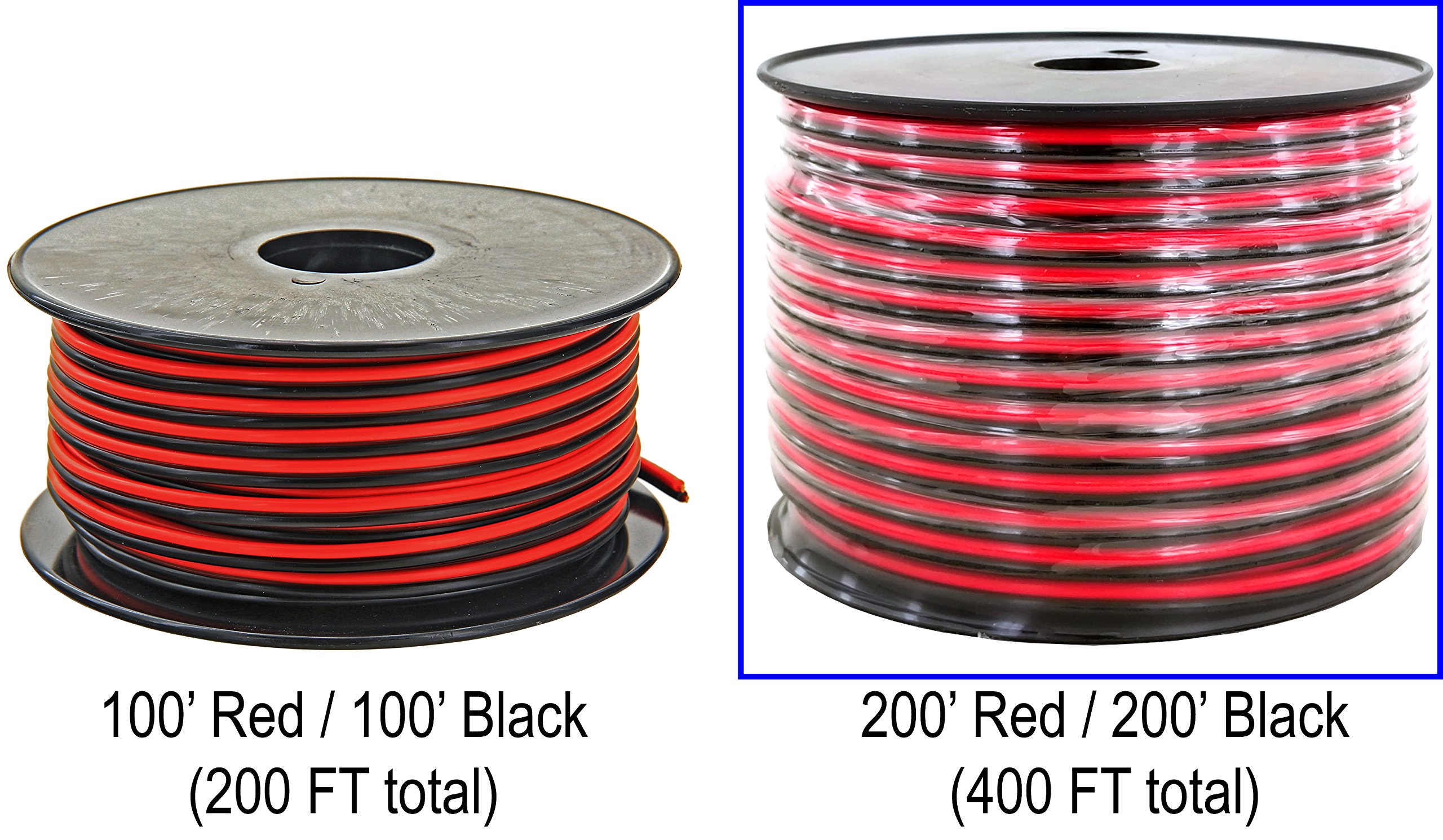 GS Power 18 Gauge (True American Wire Ga) 99.9% Oxygen Free Copper OFC, 200' Red/200' Black (400 FT Total) 2 Conductor Bonded Zip Cord Power/Speaker Electrical Cable for Car, Audio, Home Theater