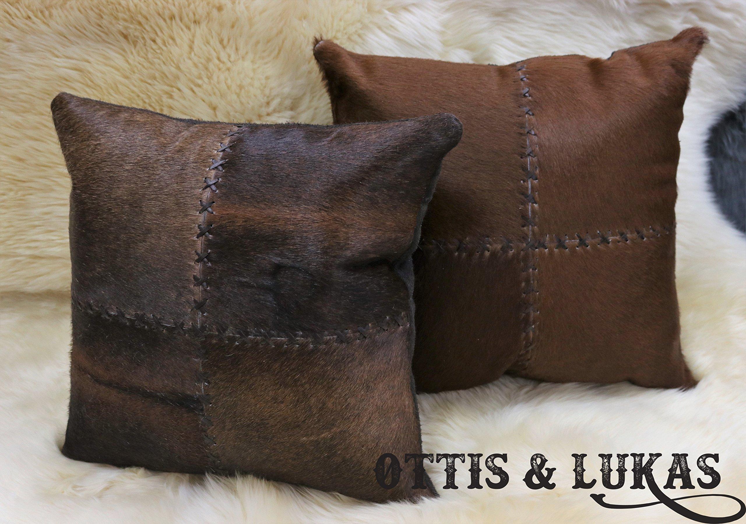 Set Genuine Cowhide Pillows 15'' x 15'' Genuine Animal Skin - Polyester Fiberfill Include